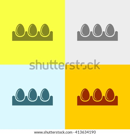 Egg Tray Icon on Four Different Backgrounds. Eps-10. - stock vector