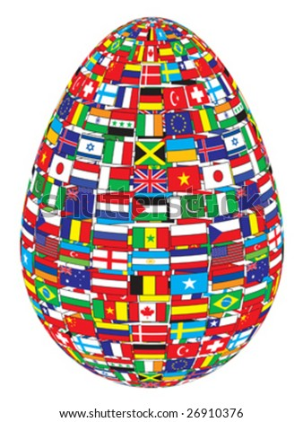 egg with flags pattern