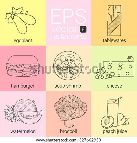 eggplant, tableware, hamburger soup with shrimp, a piece of cheese, sliced watemelon, broccoli, peach juice, set icons vector contour. icons for restaurants, cafes and catering. Illustrations of food - stock vector