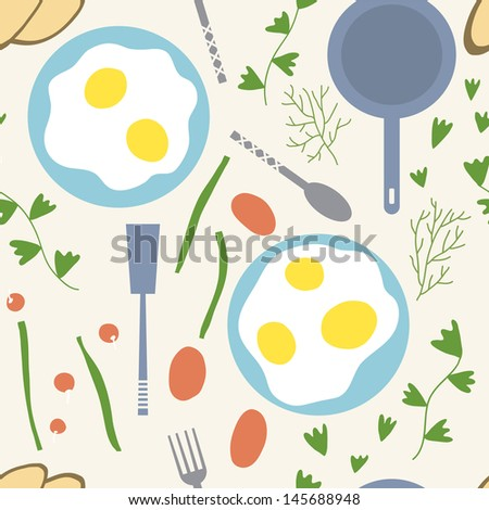 Eggs and vegetables are the best for breakfast. Vector seamless background - stock vector