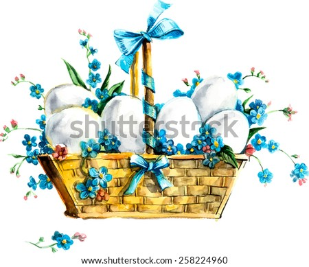 Eggs in basket with flowers. Flower backdrop. Watercolor hand drawing illustration. Bouquet of  forget me not. Vector illustration. - stock vector