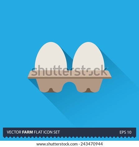 Eggs in Tray vector flat long shadow icon on blue background. Farm icons collection - stock vector