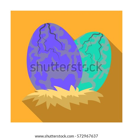 Eggs of dinosaur icon in flat style isolated on white background. Dinosaurs and prehistoric symbol stock vector illustration.