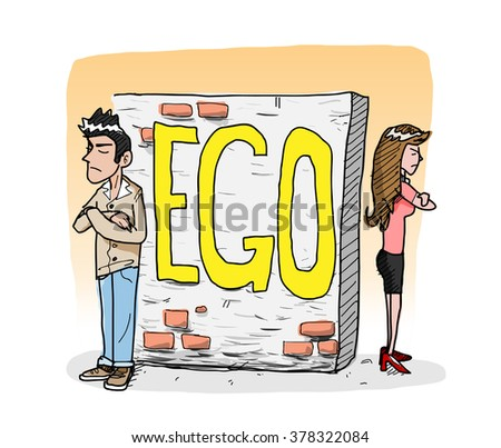 Ego, a hand drawn vector illustration of a man and a woman avoid each other because of the ego, it creates a wall that shuts away people from them (editable).