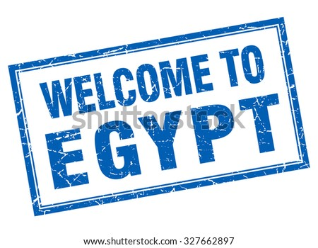 Egypt blue square grunge welcome isolated stamp