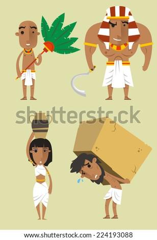 Egypt Egyptian People Pharaoh Woman Man Strength vector illustration 2. - stock vector