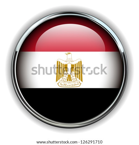Egypt flag button - stock vector