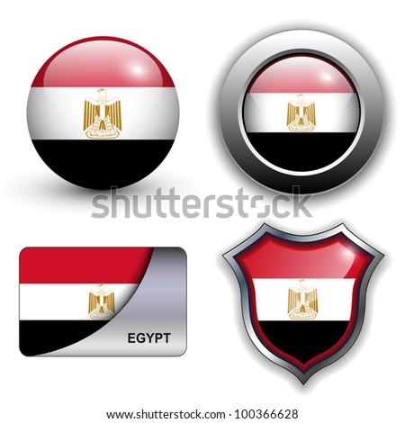 Egypt flag icons theme. - stock vector