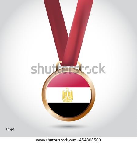 Egypt Flag in Bronze Medal. Olympic Game Bronze Medal. Vector Illustration - stock vector