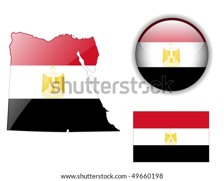 Egypt flag, map and glossy button, vector illustration set. - stock vector