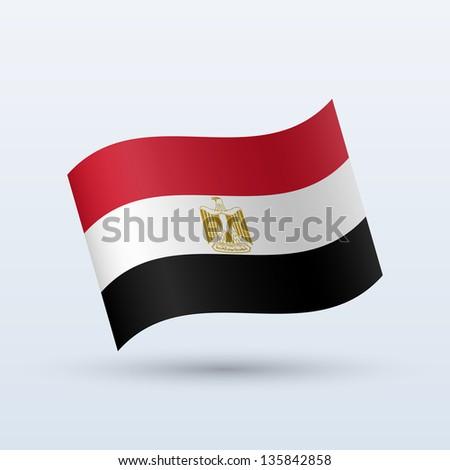Egypt flag waving form on gray background. Vector illustration. - stock vector