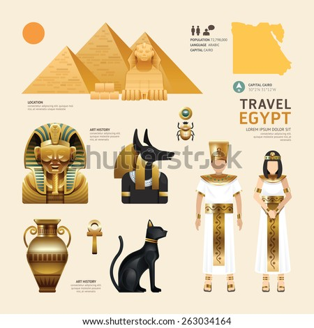 Egypt Flat Icons Design Travel Concept.Vector - stock vector