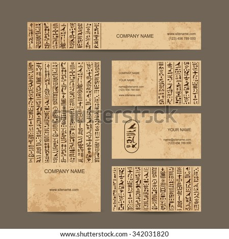 Egypt hieroglyphs, business cards for your design. Vector illustration - stock vector