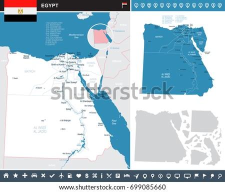 Egypt Infographic Map Flag Vector Illustration Stock Vector - Map of egypt vector free