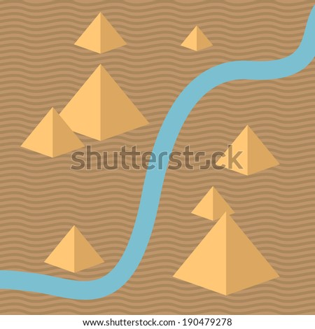 Egypt isometric background, with pyramids and river. Desert landscape. Minimal design. Use for your design. Isolated elements. Easy to edit. Vector illustration - EPS10. - stock vector