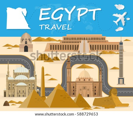 Egypt Landmark Global Travel And Journey Infographic Background Vector Design Templateused For Your