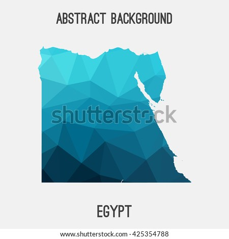 Egypt map in geometric polygonal style.Abstract tessellation,modern design background. Vector illustration EPS8 - stock vector
