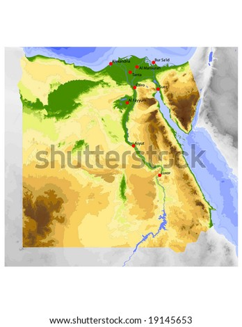 Egypt. Physical vector map, colored according to elevation, with ocean depths and selected cities. Surrounding territory greyed out. 54 layers, fully editable. Data source: NASA - stock vector