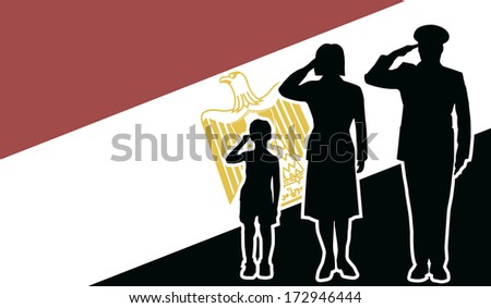 Egypt Republic soldier family salute - stock vector