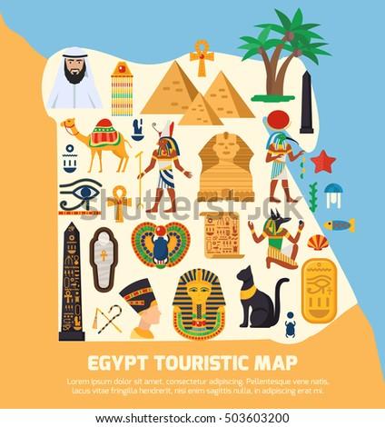 Egypt Symbols Set Golden Black Colors Stock Vector - Map of egypt landmarks