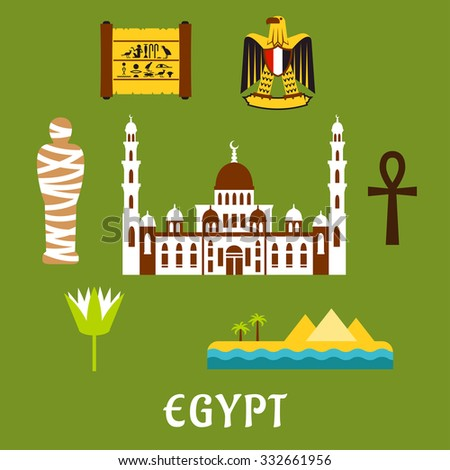Egypt Travel Flat Icons Cairo Mosque Stock Vector 332661956