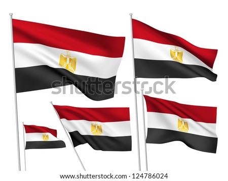 Egypt vector flags. A set of 5 wavy 3D flags created using gradient meshes. - stock vector