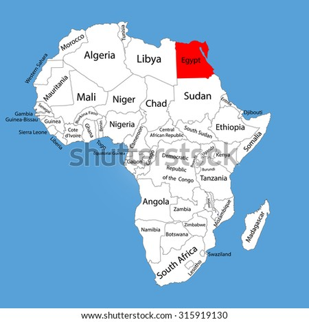 Egypt vector map silhouette isolated on Africa map. Editable vector map of Africa.  - stock vector