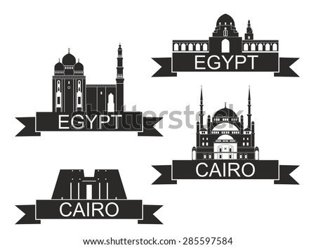Stock Vector Egypt Vector Silhouette Icon Sign Set 285597584 Virtual Exterior Home Design Online 1 On