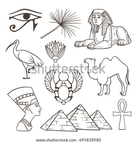 egyptian culture illustrations set hand drawn symbols eps10 vector