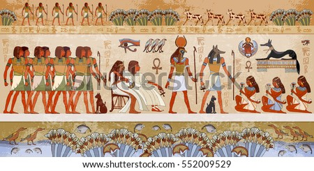 Egyptian Gods And Pharaohs. Ancient Egypt Scene, Mythology. Hieroglyphic  Carvings On The Exterior Part 75