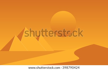 Egyptian great pyramids and sand dune in the desert on a background of the sun. Vector illustration. - stock vector