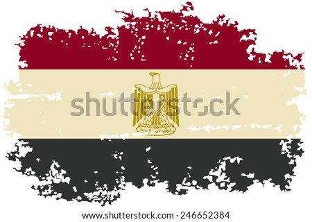 Egyptian grunge flag. Vector illustration. Grunge effect can be cleaned easily. - stock vector