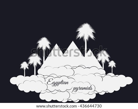 Egyptian pyramids isolated on black background. The symbol of Egypt.