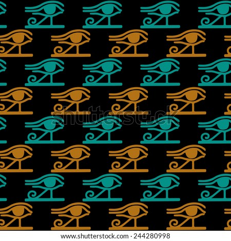 Egyptian seamless pattern with Eye of Horus in black, gold, blue colors. Egypt hieroglyphs. Tribal art colorful repeating background texture. Cloth design. Wallpaper  - stock vector