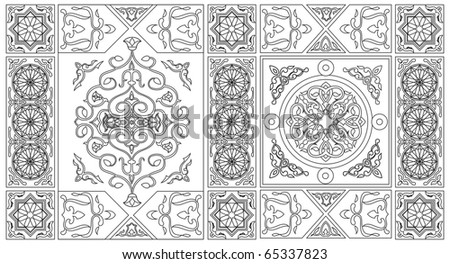 Egyptian Tent Pattern Line Art Style1-vector - stock vector