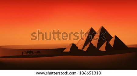 egyptian vector landscape - desert, pyramids and camels at the sunset - stock vector