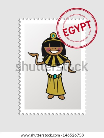 Egyptian woman cartoon with Egypt postal stamp. Vector illustration layered for easy editing. - stock vector