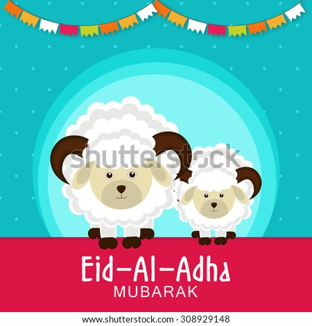 Eid-al-adha festival background with sheep - stock vector