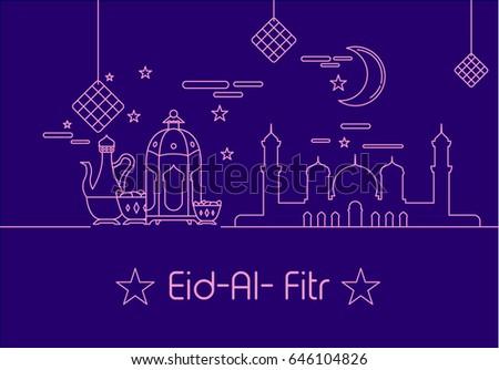 Eid al fitr background mono line stock vector 646104826 shutterstock eid al fitr background in mono line style with shadow for eid and ramadan mubarak greeting m4hsunfo