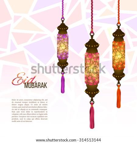Eid Mubarak background. Eid Mubarak - traditional Muslim greeting. Colorful shining glass lanterns with silk tassels. Festive hanging Arabic lamps. Decorations for greeting or invitation card. Vector - stock vector
