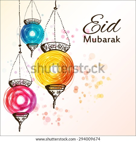 Eid Mubarak background. Eid Mubarak - traditional Muslim greeting. Festive hanging arabic lamps. Greeting card or invitation for Moslem Community events. Vector illustration. - stock vector