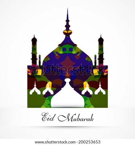 eid mubarak card grunge colorful mosque vector background illustration