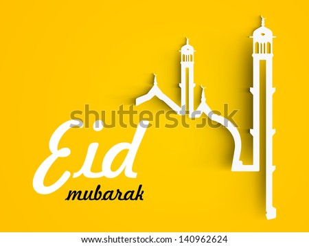 Eid Mubarak concept with illustration of mosque on yellow background. - stock vector