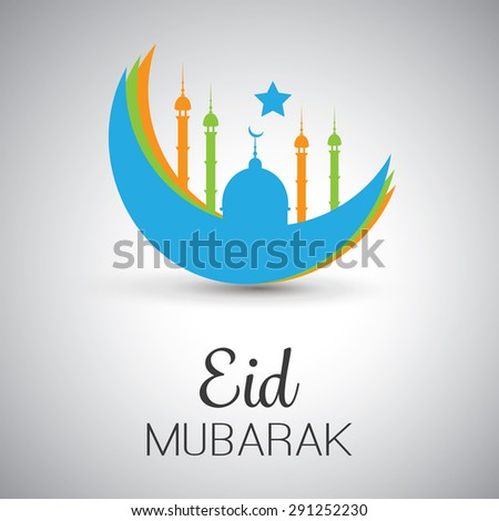 Eid Mubarak - Moon in the Sky - Greeting Card for Muslim Community Festival - stock vector