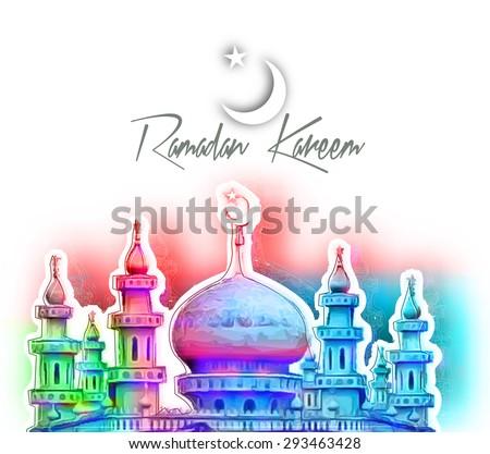 Eid Mubarak ( Ramazan Kareem ) concept with illustration of mosque building. - stock vector