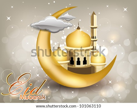 Eid Mubarak text with moon, Mosque or Masjid in golden color and glossy clouds on shiny abstract night background.EPS 10 - stock vector