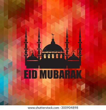 Eid Mubarak - traditional Muslim greeting. Muslim greetings background. Vector illustration. - stock vector