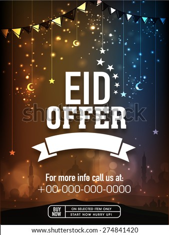 Eid offer poster, banner or flyer design decorated with hanging moons and stars on shiny mosque silhouette background. - stock vector