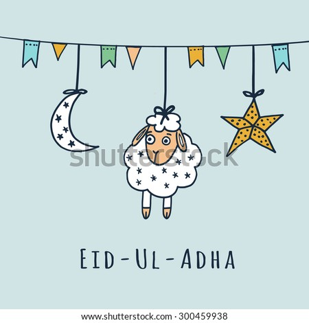 Eid-ul-adha greeting card with sheep, moon, star and flags, muslim community festival of sacrifice - stock vector