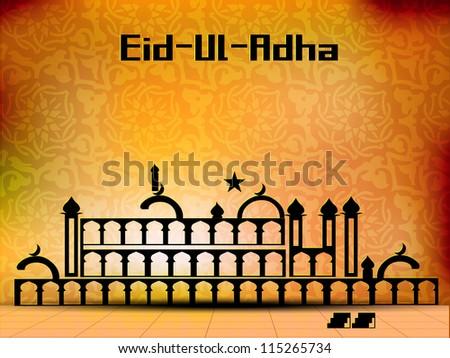 Eid-Ul-Azha or Eid-Ul-Adha, Arabic Islamic calligraphy for Muslim community festival. EPS 10. - stock vector
